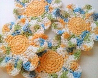 Flower Coasters - Cool Breeze Variegated - Set of 4 - Daisy Coasters - Mug Rugs