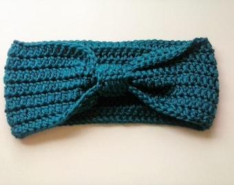 Crochet Bow Headwrap - Bow Headband - Turban Headband - Ear Warmer - Teal