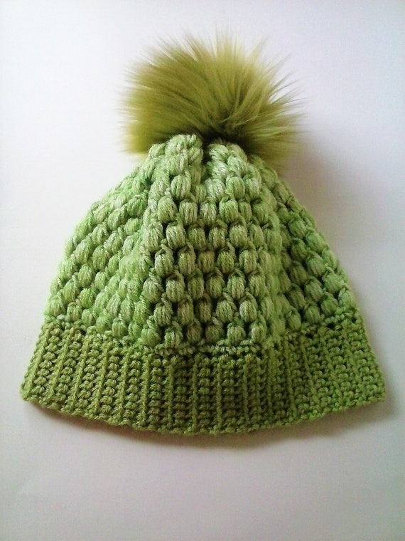 Unisex Crochet Cluster Hat with Pom Olive Green Pom Beanie  4d2499119c4