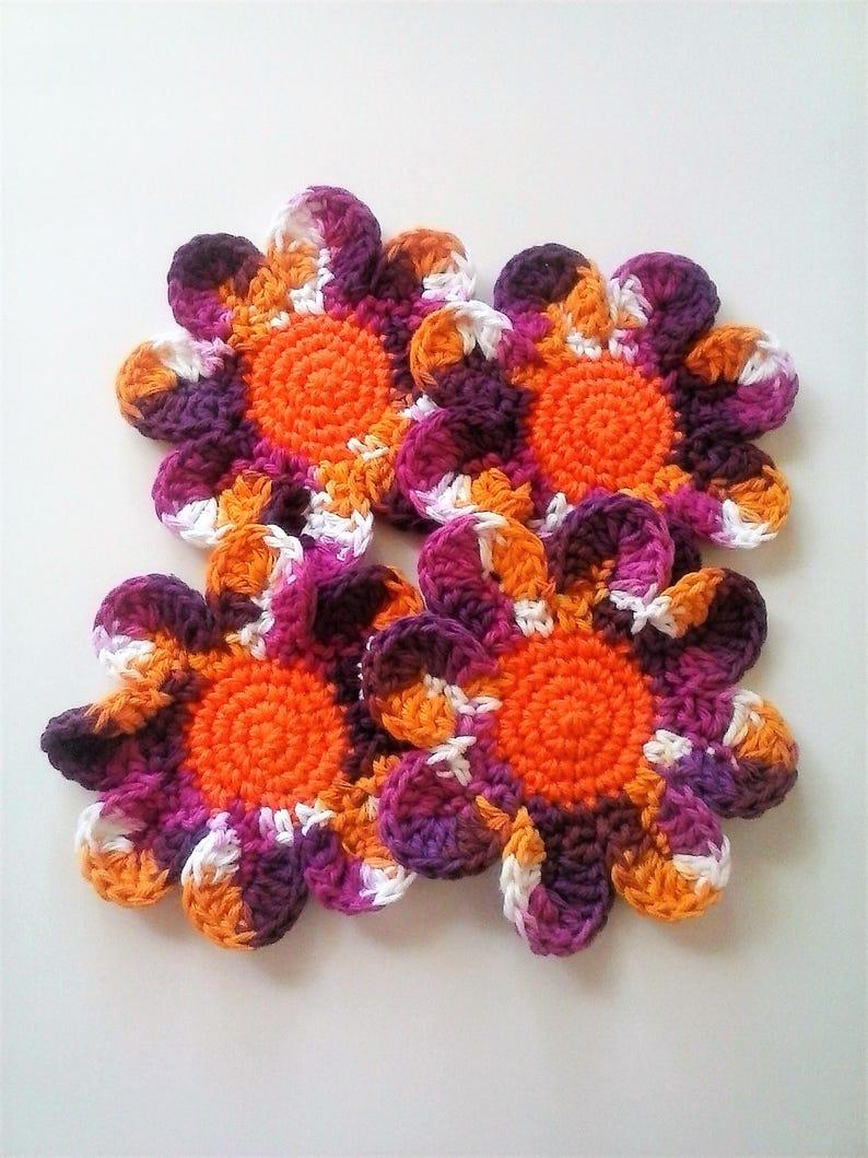 Secret Santa Gift Daisy Coasters Housewarming Gift Small Gift Idea 100/% Cotton Batik Print Set of 4 Large Coasters