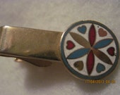 Antique BEAUTIFUL ROBBINS CO. Gold Enamel Pinwheel Tie Clip 5615 Gift 4 Him,Gift 4 Dad,Office or Play Wear