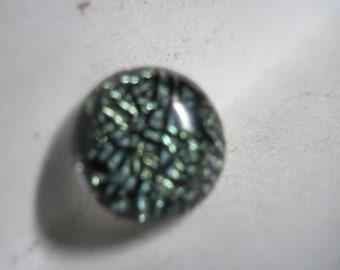 VINTAGE WONDERFUL Mid Century Shimmering Beetle Green DICHROIC Art Glass Studio Button ....#2931