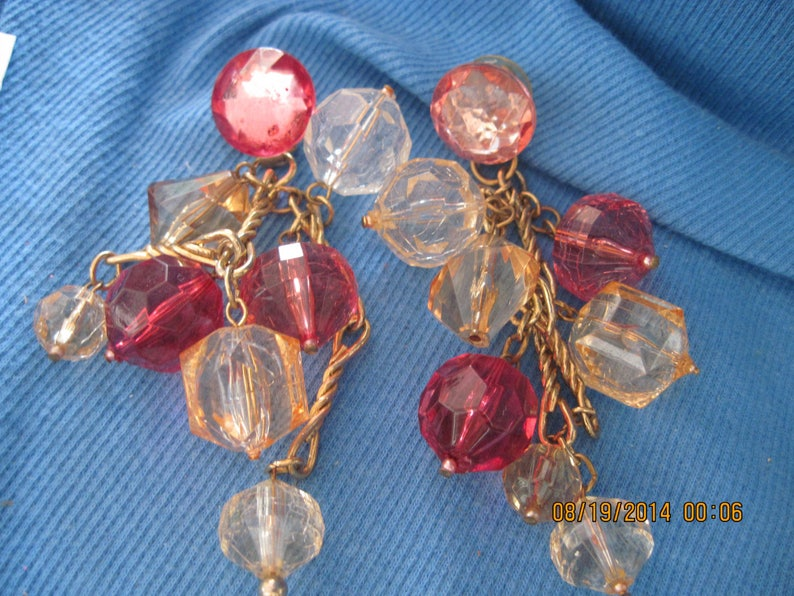 Vintage BIG BOLD STATEMENT Long Gold and Amber,Rose /& Clear Faceted Chunky Lucite Beaded Dangle Stud Earrings..#7188 Play TimeDress Up