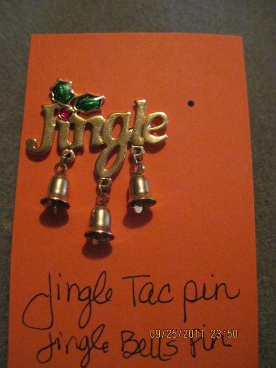 #43....Christmas Jewelry,Holiday Jewelry,Elegant Jewelry Vintage Avon Jingle Bells Tac Pin ...1995.....