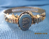 Antique Vintage BEAUTIFUL Shabby Chic Silver Gold Art Deco Victorian Black Glass CAMEO Hinge Bracelet 7257 TLC Needed