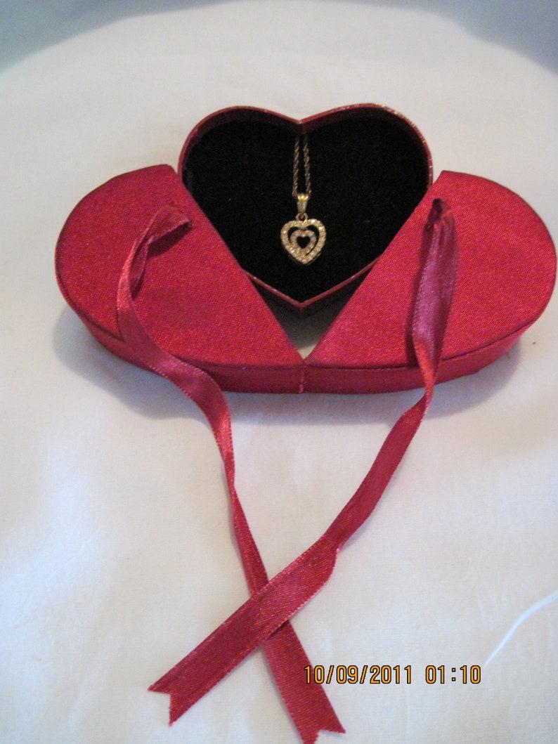Vintage BEAUTIFUL Floating Heart in a Heart Rhinestone Necklace /& Heart Box...by Avon #238