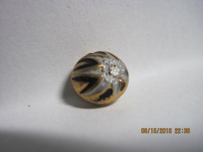 ANTIQUE LOVELY 1900/'s-20/'s Art Deco Gilt Brass /& Enamel Button...Gent/'s Waistcoat...w Silver Flower..#514