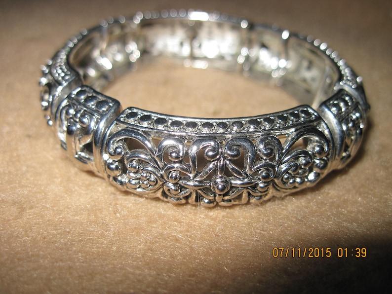 Vintage GORGEOUS Silver Art Deco Ethnic Open Work Heavy Stretch Bracelet ..7938...ElegantWeddingEvening Wear