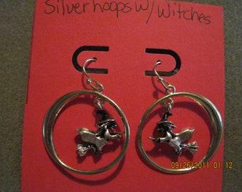 Vintage Avon Silver Hoops with Witch Dangle Pierced Earrings.. #133