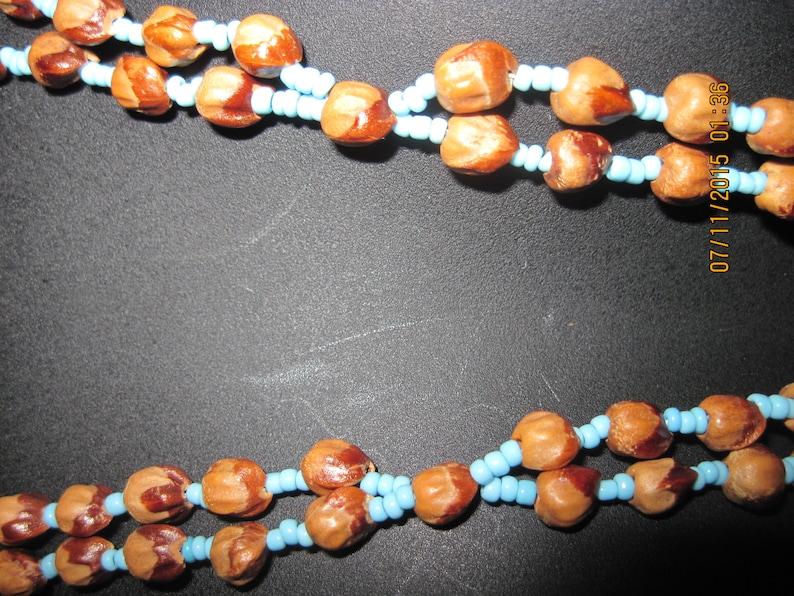 Antique BEAUTIFUL Long Turquoise Seed /& /'SEED/' Beads Dbl Strand w Fringe Dangle Necklace ...7935...ElegantWeddingEvening Wear
