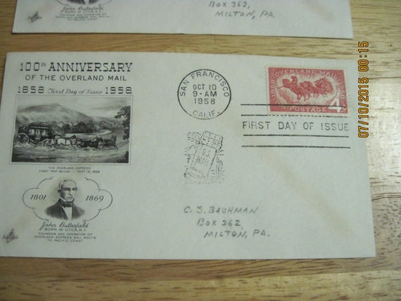 VNTAGE Set of 2 100th Anniversary The Overland Mail 1858-1958 Envelopes with Stamps...Postmark 1959...EXCELLENT CONDITION For Age