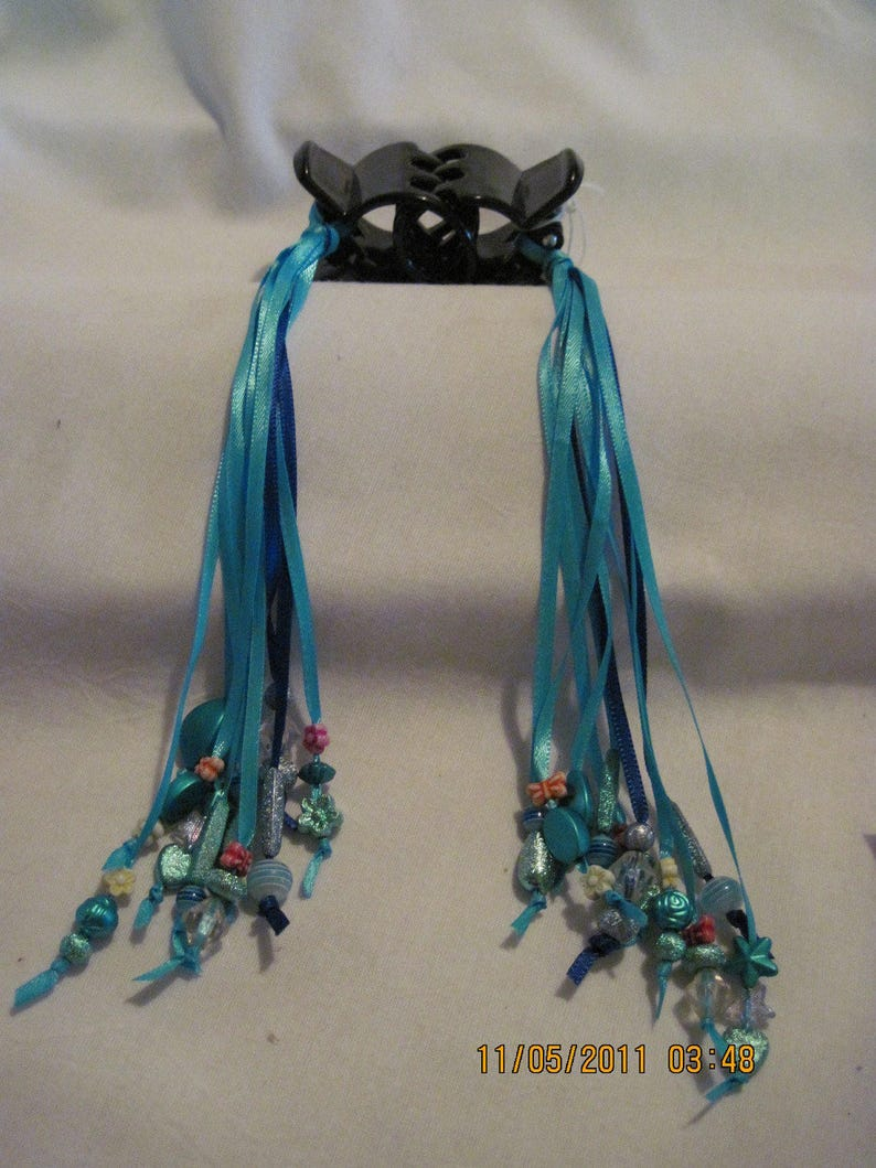BEAUTIFUL Hair Clips with Ribbons and Beads....set of 2....handmade...black blues