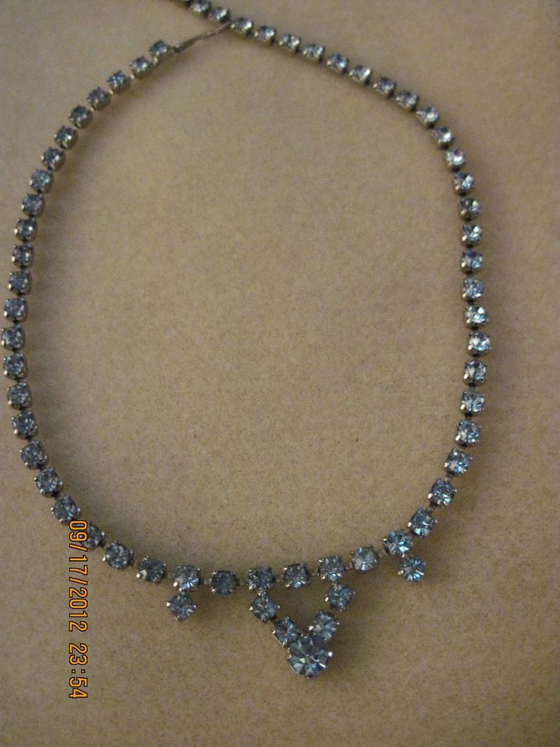 Vintage GORGEOUS Blue RhinestoneCrystal Necklace .....#2608...Estate Found...