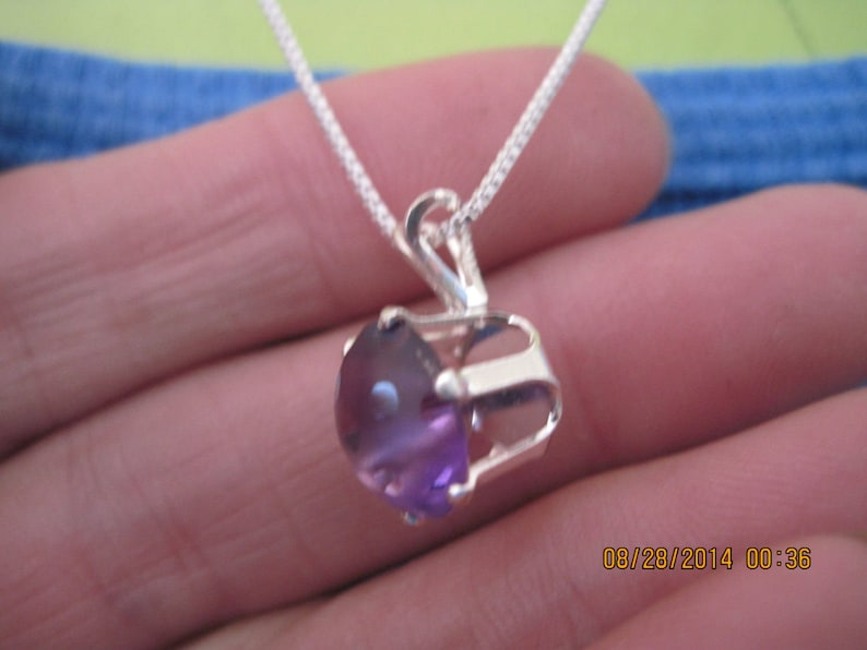 GORGEOUS Handmade Genuine Sterling Silver /& Amethyst Round Frosted w Polka Dots Solitaire Necklace...very UNIQUE.1514h...