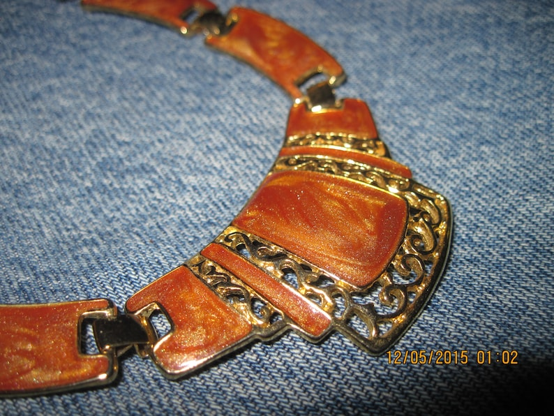 Antique GORGEOUS Gold /& Pearly Beige Bronze Enamel BIG BOLD Collar Link Necklace..#8317..Gift 4 Mom,Gift 4 Her