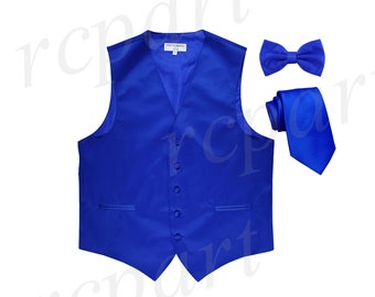 Men/'s Horizontal Striped Royal Blue Polyester Tuxedo Vest Waistcoat Only 2010 for Formal Occasions