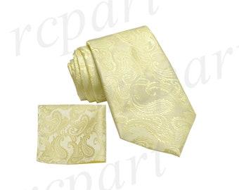 bb6308977ee2 New Micro Fiber Men's Paisley Canary Yellow Self-Tie Neck tie & hankie set  microfiber, Formal Occasions (600I)
