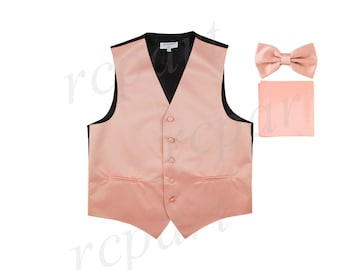 for Formal Occasions Men/'s Solid Beige Polyester Vest with Pre-Tied Bowtie and Handkerchief