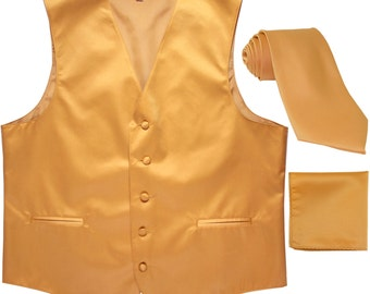 New Men/'s solid Tuxedo Vest Waistcoat /& necktie /& Bow tie /& Hankie orange prom