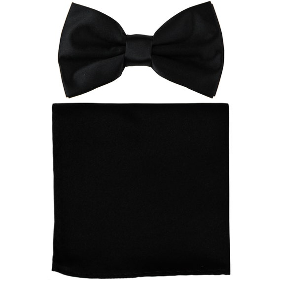 45bd7b27e273 New Polyester Men's Solid Black Pre-Tied Bowtie and | Etsy