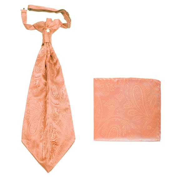 New Men/'s Polyester Woven Neck Tie necktie only peach paisley prom wedding