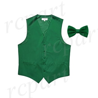 Men's Solid Emerald Green Polyester Vest with Pre-Tied Bowtie, for Formal Occasions