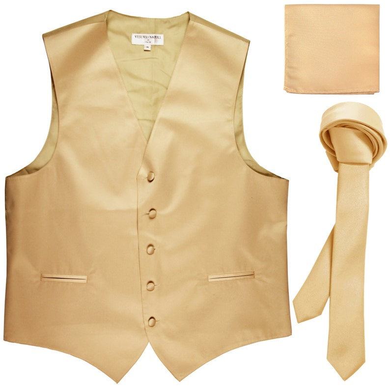 for Formal Occasions Men/'s Solid Beige Polyester Vest with Self Tie 1.5 Necktie and Handkerchief