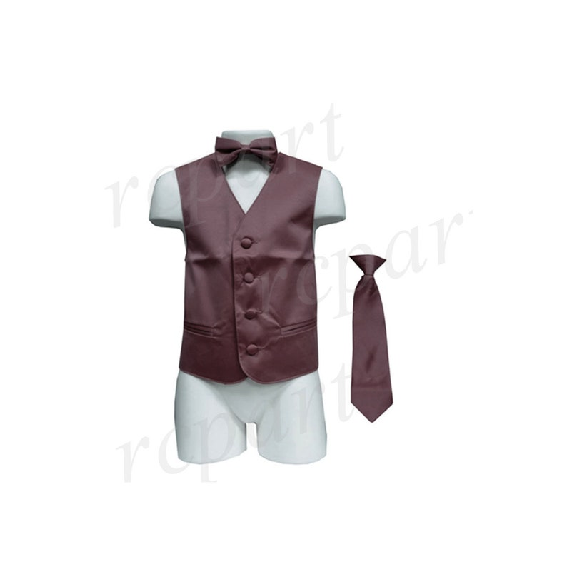 for Formal Occasions Boy/'s Solid Brown Polyester Vest with Necktie and Bowtie