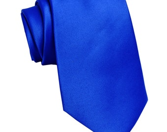 Men's Solid Royal Blue Big & Tall Extra Long Necktie, for Formal Occasions
