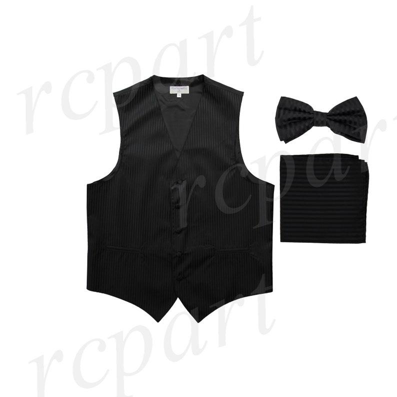 e3b180d0bdd6 Men's Vertical Striped Black Polyester Vest with Pre-Tied   Etsy