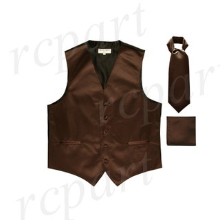 Men's Solid Brown Polyester Vest with Full Ascot and Handkerchief, for Formal Occasions
