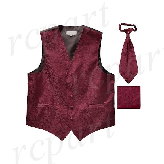 New Men/'s Paisley Tuxedo Vest Waistcoat /& Ascot Cravat /& Hankie Wedding Peach