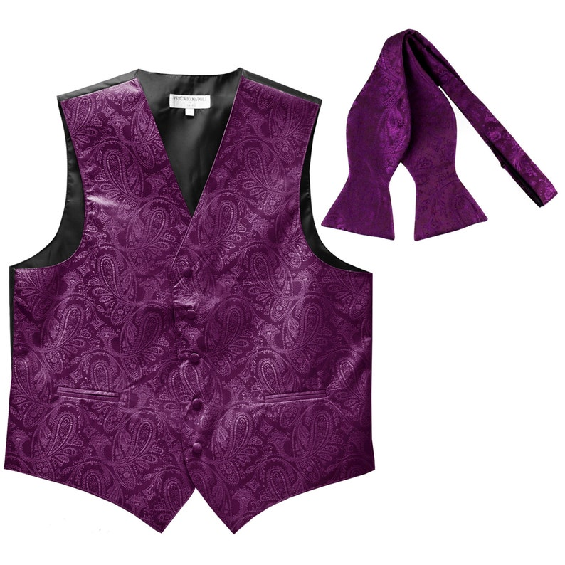 Men's Paisley Purple Polyester Vest with Self Tie Bowtie, for Formal Occasions