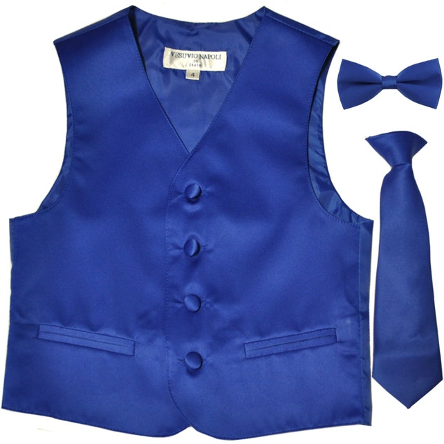 Boy's Solid Royal Blue Polyester Vest with Necktie and Bowtie, for Formal Occasions