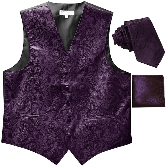 Men/'s Paisley Purple Polyester Vest with Self Tie Bowtie and Handkerchief for Formal Occasions