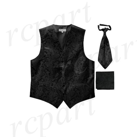 New Men/'s Solid poly Tuxedo Vest Waistcoat /& Ascot Cravat Red Wedding formal