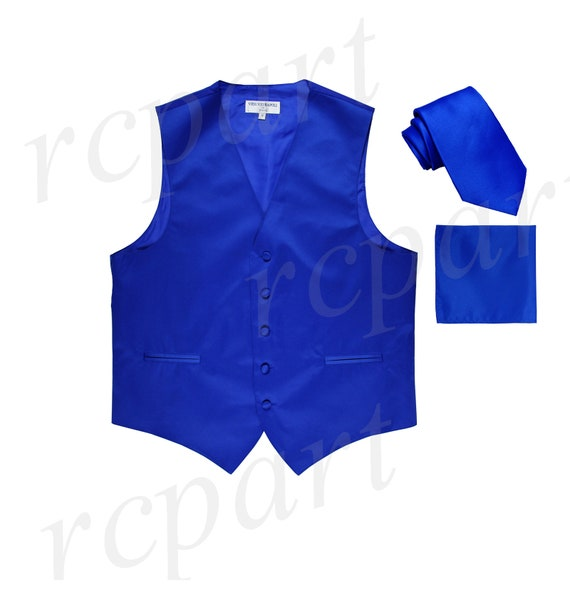 New Men/'s Solid Tuxedo Vest Waistcoat /& Self-tie Bowtie Set Royal Blue