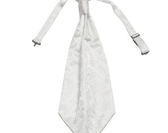 New Men's Paisley White Ascot Cravat Tie, for Formal Occasions