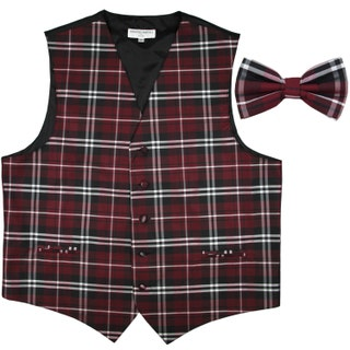 Men's Plaid Black Burgundy White Polyester Vest with Pre-Tied Bowtie, for Formal Occasions
