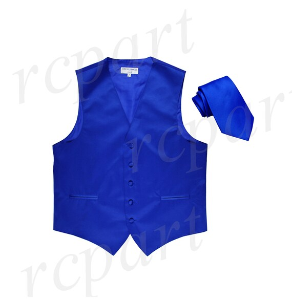 "New Polyester Men/'s 2.5/"" Neck Tie /& hankie formal wedding prom navy blue"
