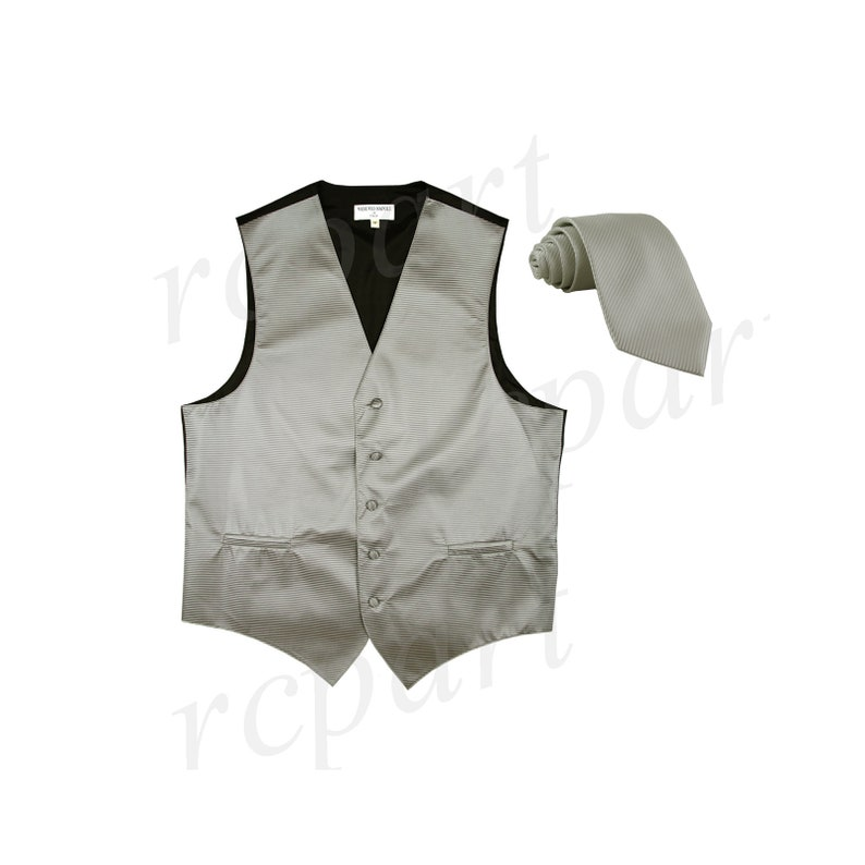 2010 for Formal Occasions Men/'s Horizontal Striped Gray Polyester Tuxedo Vest with Self Tie Necktie