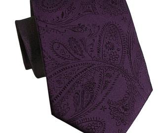 Men's Paisley Dark Purple Regular Necktie, for Formal Occasions