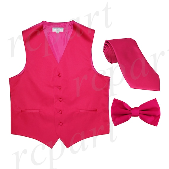 Men/'s Solid Mauve Pink Polyester Vest with Pre-Tied Bowtie and Handkerchief for Formal Occasions