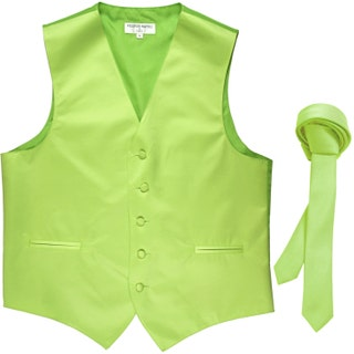 Men's Solid Lime Green Polyester Vest with Self Tie 1.5 Necktie, for Formal Occasions