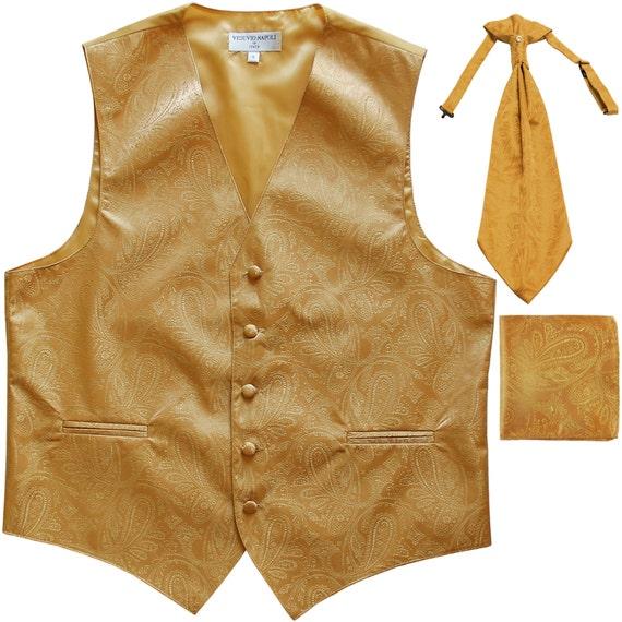 New Men/'s Paisley Tuxedo Vest Waistcoat /& Ascot Cravat /& Hankie Wedding Navy