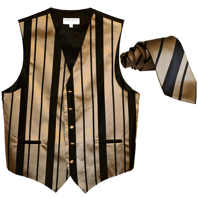 4010 Men/'s Vertical Striped Mocca Polyester Vest with Self Tie Necktie for Formal Occasions