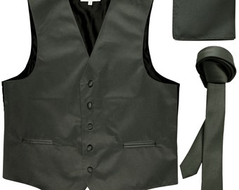 """Men's Solid Dark Gray Polyester Vest with Self Tie 1.5"""" Necktie and Handkerchief, for Formal Occasions"""