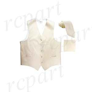 Men/'s Plaid Black Brown White Polyester Tuxedo Vest with Self Tie 2.5 Necktie and Handkerchief for Formal Occasions