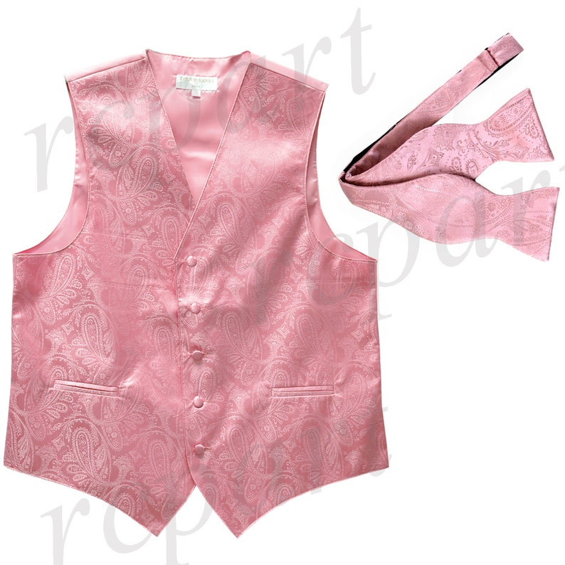 for Formal Occasions Men/'s Paisley Pink Polyester Vest with Self Tie Bowtie