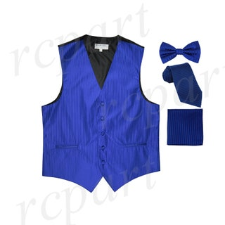 Men's Vertical Striped Royal Blue Polyester Tuxedo Vest with Self Tie Necktie, Pre-Tied Bowtie, and Handkerchief, for Formal Occasions (625)